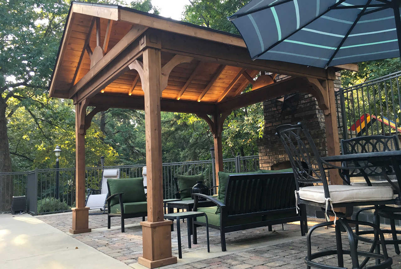 Shot of underside of 10\u0027-8\  x 11\u0027-0\  Roof & Red Cedar Patio Cover Kits | Cedar Pavilion Kits | Pre-made