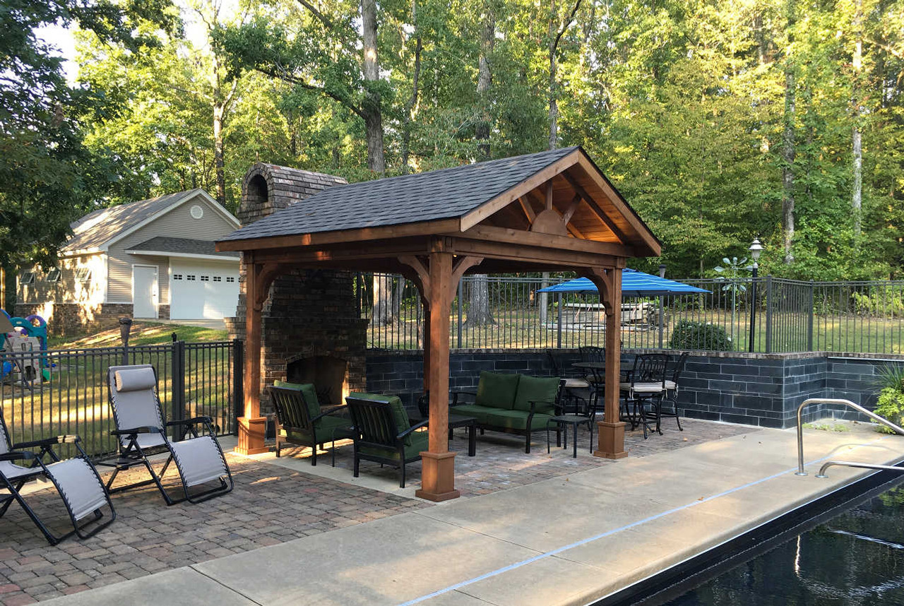 "10'-8"" x 11'-0"" Roof Span Gable Roof Patio Cover / Western Red Cedar #1 Grade / Mahogany Stain / Benton, Arkansas"