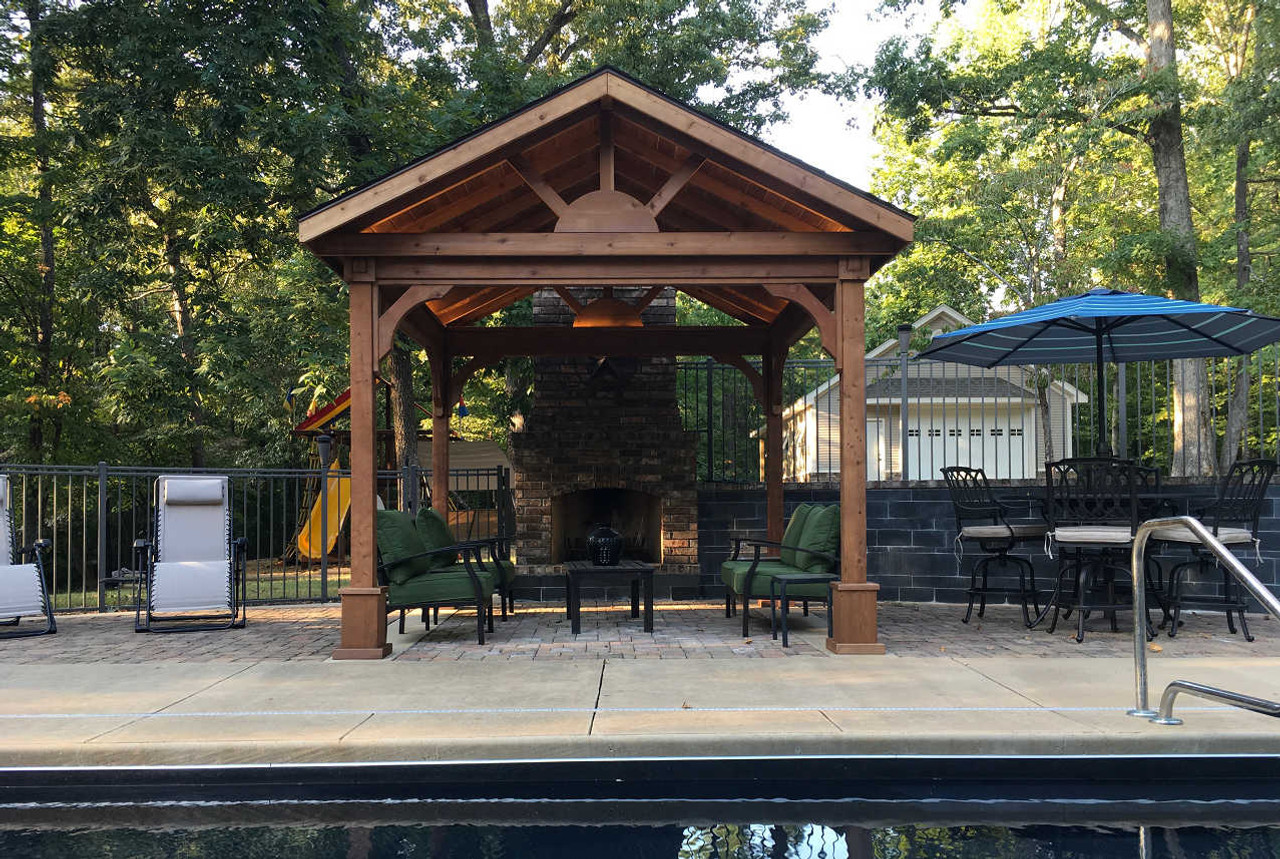 "Gable end of 10'-8"" x 11'-0"" Roof Span Gable Roof Patio Cover / Western Red Cedar #1 Grade / Mahogany Stain / Benton, Arkansas"