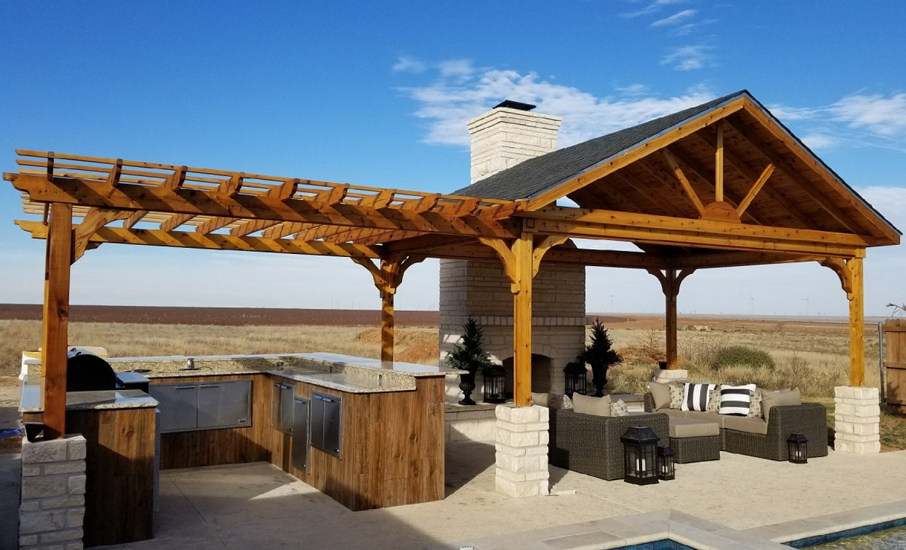 "18x12 open gable red cedar pavilion with 12x12 attached pergola / posts 9'-4"" tall / Stanton, TX"