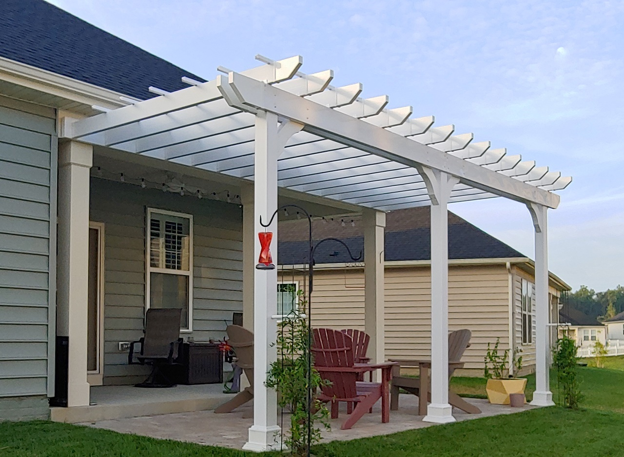 9x19 wall-mounted white vinyl Napa rafter tail design. Williamsburg, VA.