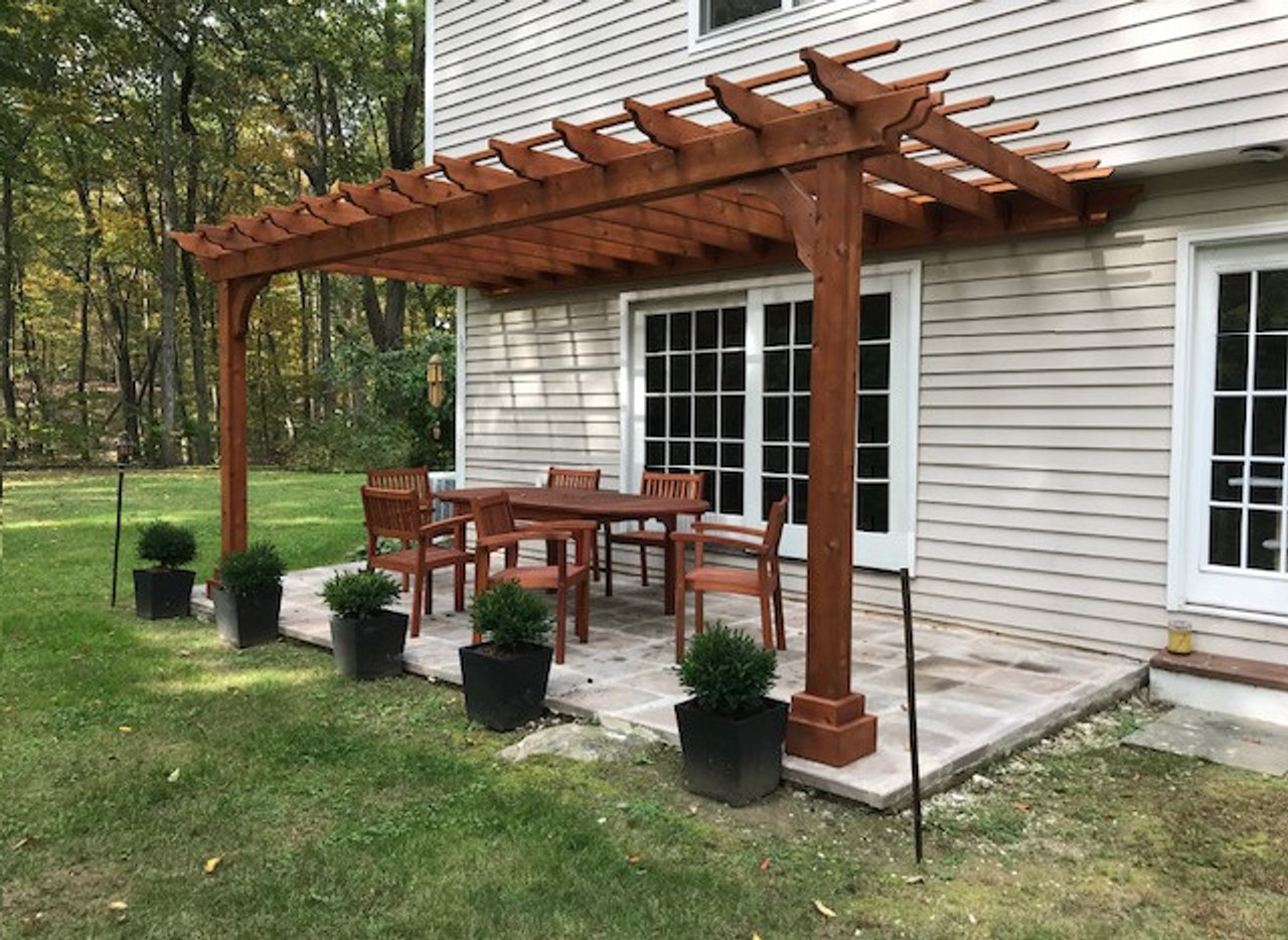 8x16 Classic Pergola Kit (wall mounted) / 2x6 rafters flush mounted to ledgerboard / Rustic Cedar Stain / Weston, CT