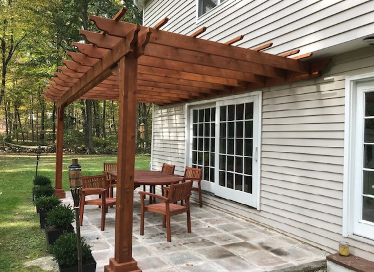 Alternate view / 8x16 Classic Pergola Kit (wall mounted) / 2x6 rafters flush mounted to ledgerboard / Rustic Cedar Stain / Weston, CT