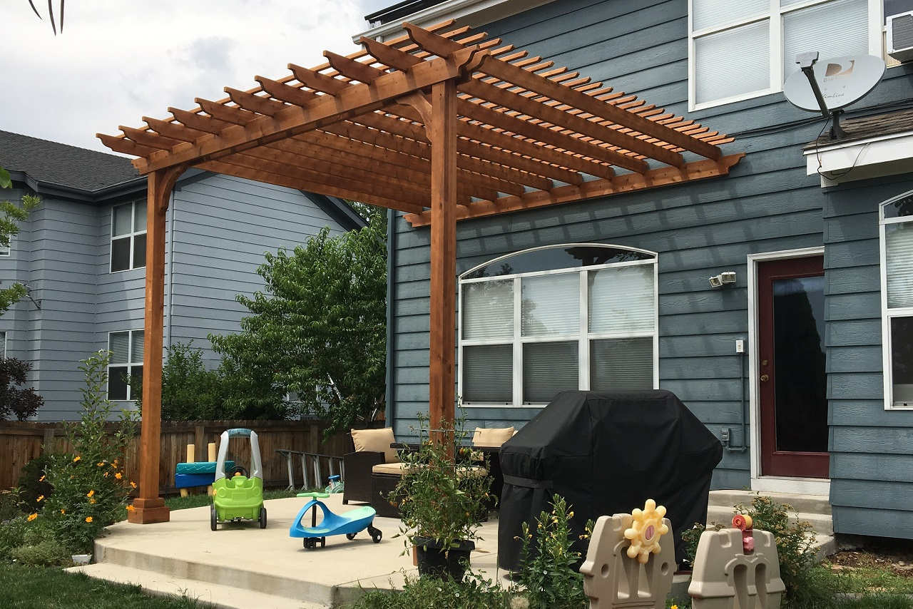 """13x13 Classic Pergola Kit (wall mounted) / 11'-6"""" tall posts / top runners at 6"""" on center / Rustic Cedar Stain / Arvada, CO"""