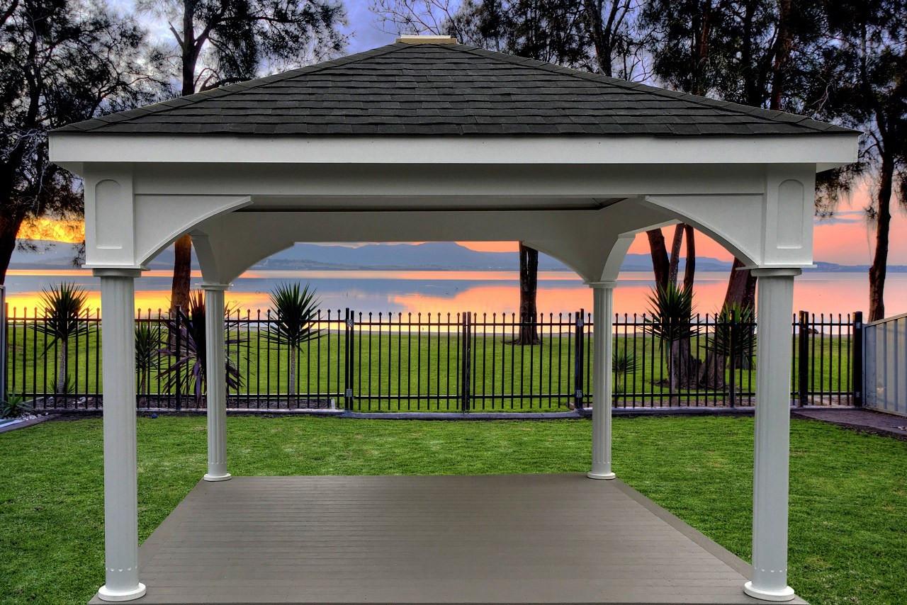 "12'x12' Premium Vinyl Pavilion - Traditional Roof / 6"" round fluted posts / PVC deck / Lancaster, PA"