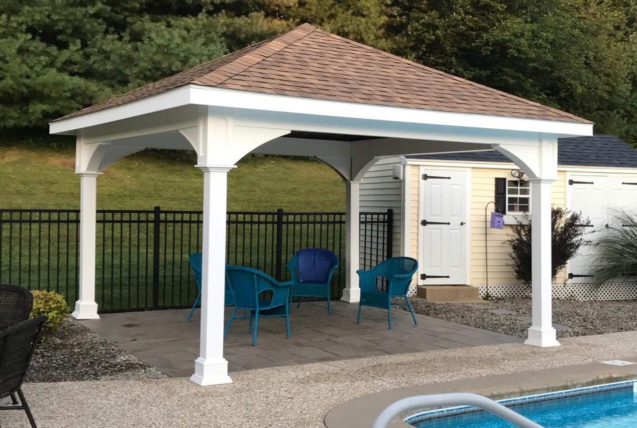 "14x14 Vinyl Pavilion / Rustic Cedar roof shingles / 12"" overhang all sides / Sterling, MA."