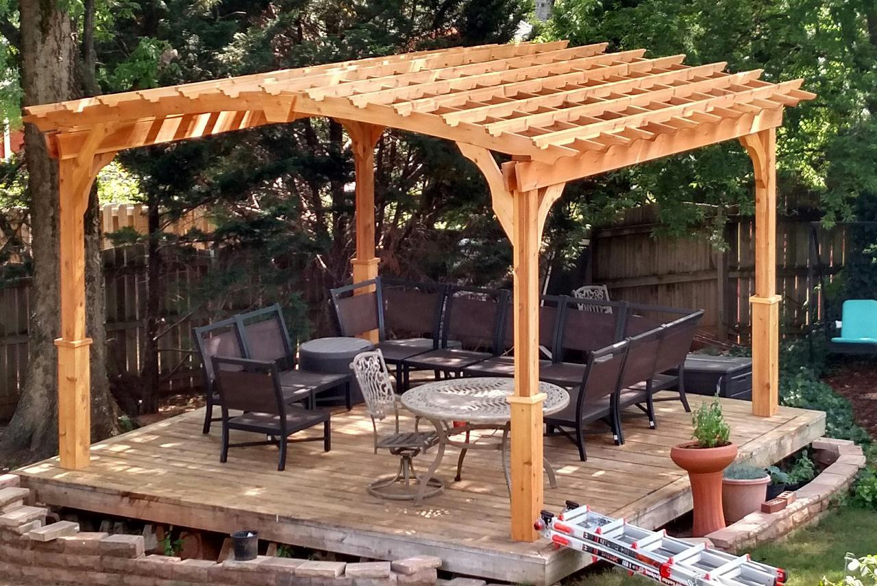 14 x 14 Arched Cedar Pergola Kit / Maple color stain & sealant / Huntsville, Alabama