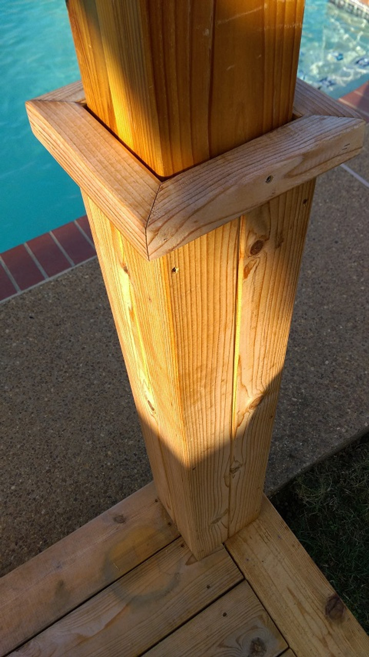 Close up shot of post base moldings.