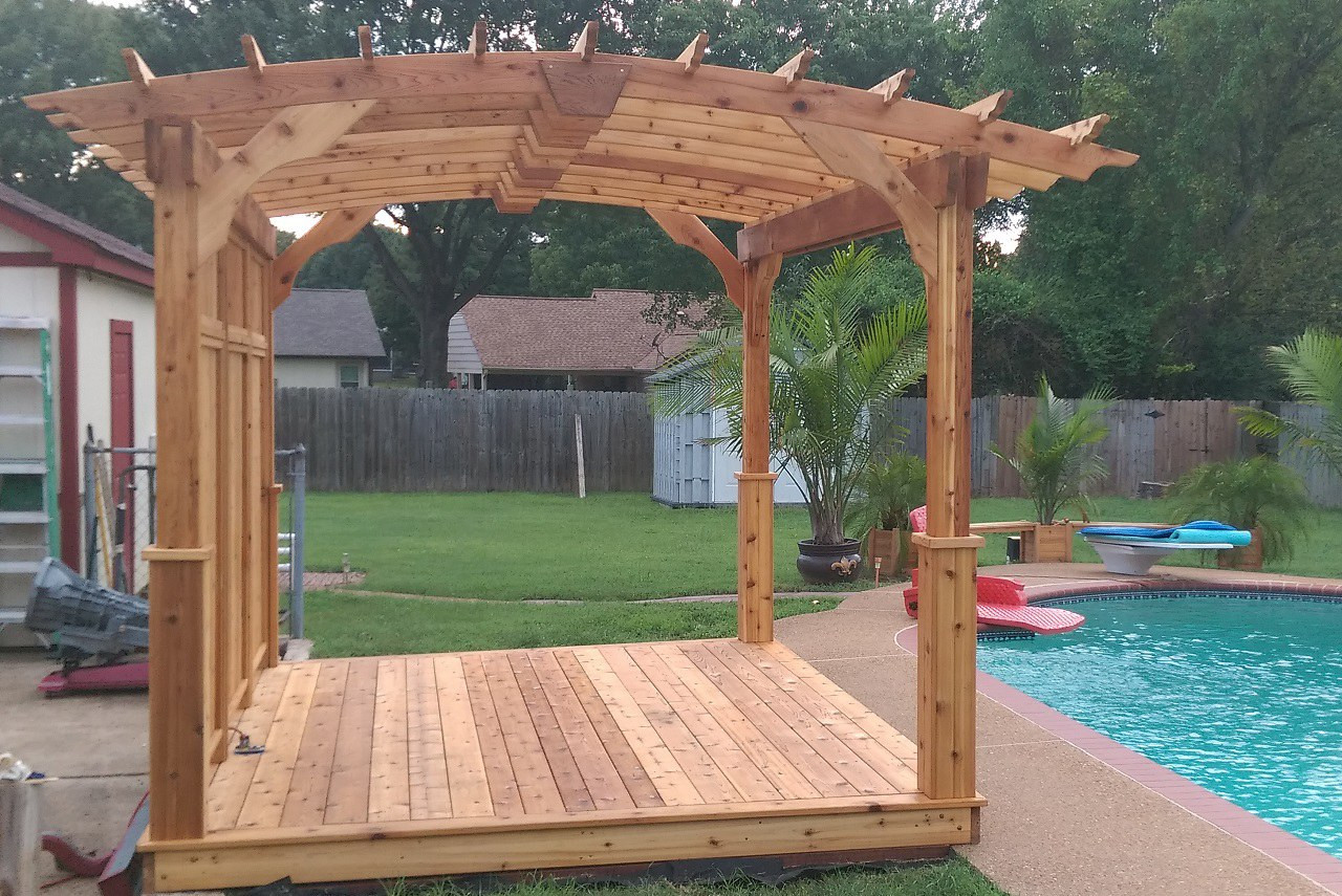 9 x 12 Arched Cedar Pergola Kit / Cedar Deck / Cedar Privacy Wall / Southhaven, Mississippi