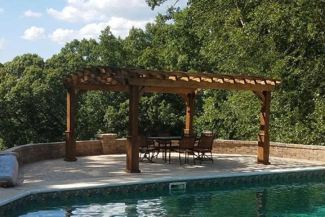 16 x 12 Arched Cedar Pergola Kit, Western Red Cedar, 8in square columns, Walnut Stain, Heavy Duty Post Anchors, Whitesburg, Georgia