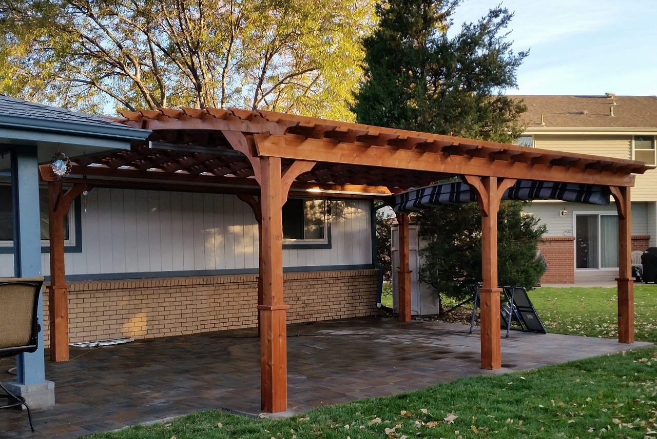 14 x 22 Arched Cedar Pergola Kit / Cedar stain & sealant / Lattice roof / Retractable Sunbrella™ fabric canopy, Burgundy Black & White / Brighton, Colorado