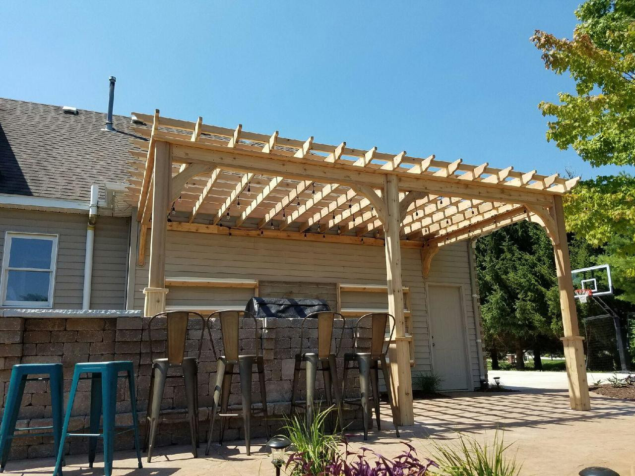 18' x 12' wall mounted Serenity Pergola Kit, Western Red Cedar, unstained, Saranac, MI.