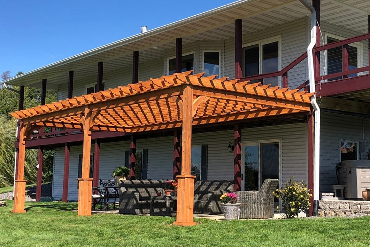12x26 attached Serenity Pergola Kit, Rustic CMelrose, WI