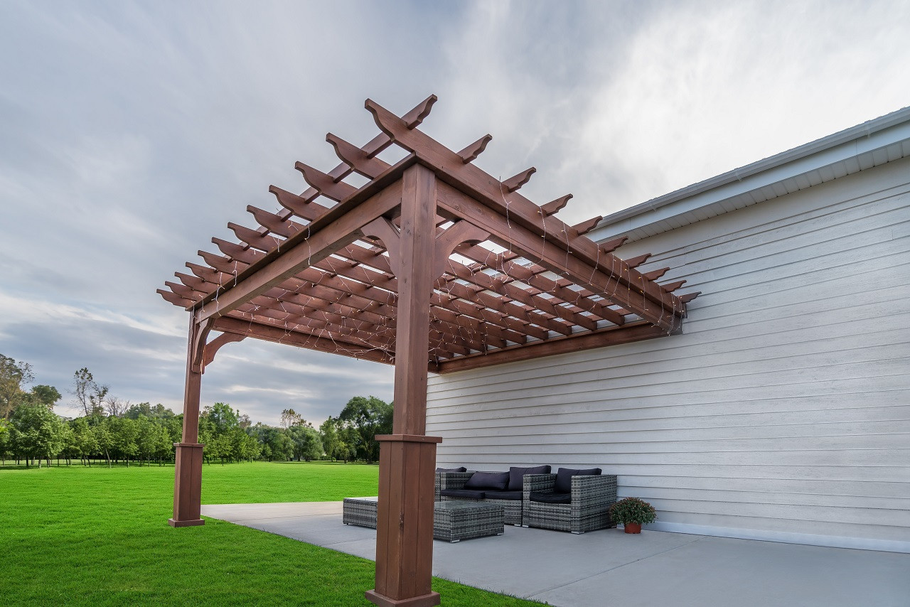 2nd of two identical structures: 12x14 wall-mounted Serenity Cedar Pergola Kit, customer stained, Valparaiso, IN