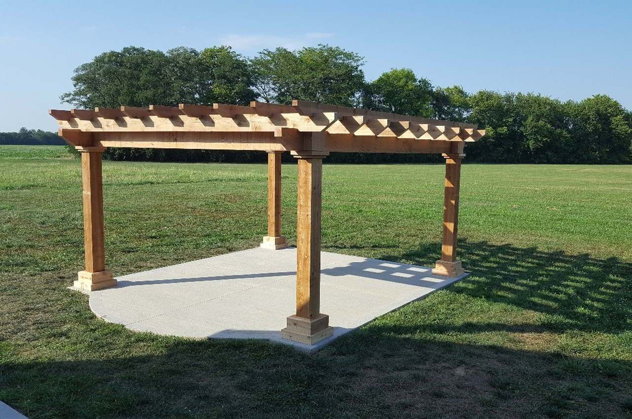 14x14 post center Homestead Pergola Kit / Western Red Cedar #1 Grade / Smooth planed option / Roof Span 16x16 / 9ft tall posts / 4x10 beams / 3x8 rafters / 3x6 stringers / Unstained / Highland, IL.