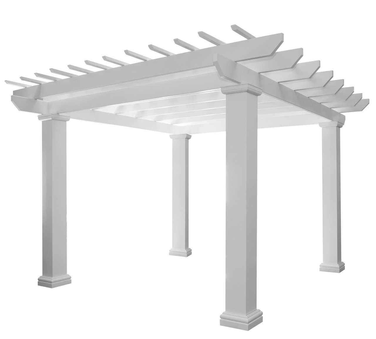 "The Avondale Fiberglass pergola kit ships in one week, features Napa Style rafter tails, and 10"" square posts 8ft tall. Available in Standard White Color. This is a fiberglass-resin composite material warrantied for life. Available in 12x12, 14x14, and 16x16 sizes."