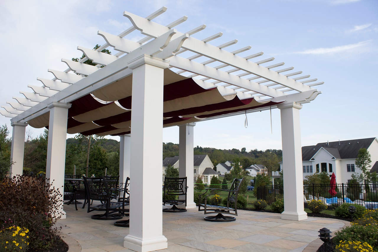"26x16 structural fiberglass composite pergola kit / 12"" sq. columns / Infinity Canopy™ featuring Sunbrella™ Fabric that blocks 100% of the sun's rays / Burgundy and Linen colors / Middletown, MD"