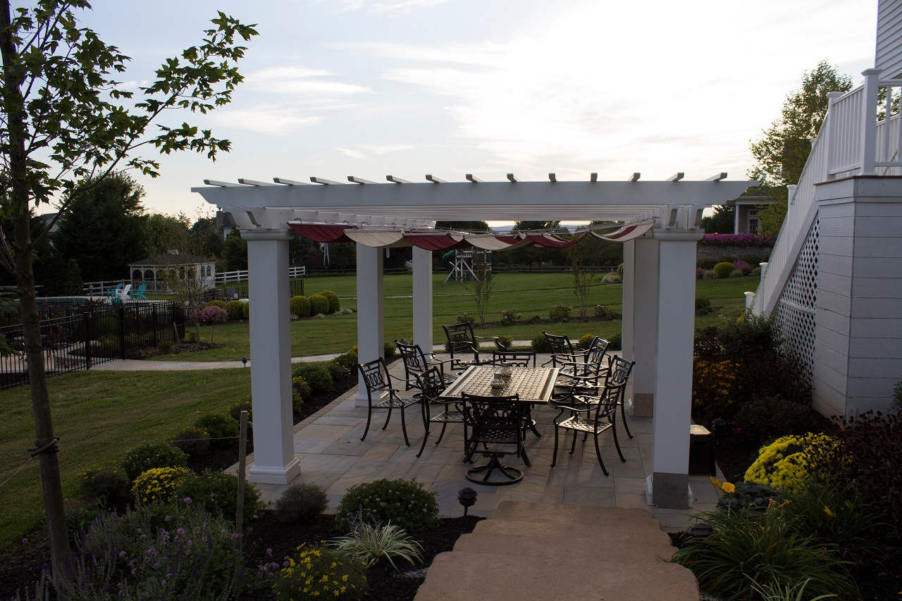 "26x16 structural fiberglass composite pergola kit / 12"" sq. columns / Infinity Canopy™ featuring Sunbrella™ Fabric Burgundy and Linen / Middletown, MD"