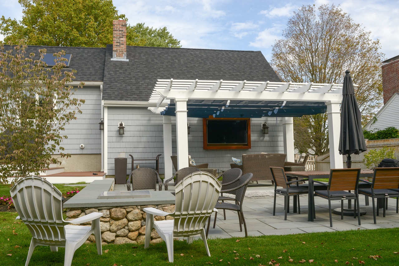 "18x12 structural fiberglass composite pergola kit / 10"" sq. columns / Infinity Canopy™ featuring Pfifertex Plus™ Fabric (Dupione Sapphire color) designed to block 92.5% of the sun's rays / Hingham, MA"