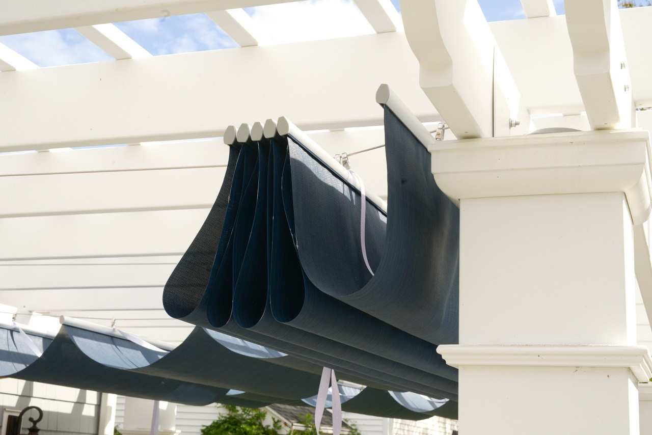 Infinity Canopy™ in retracted position. Slides easily to open and close.