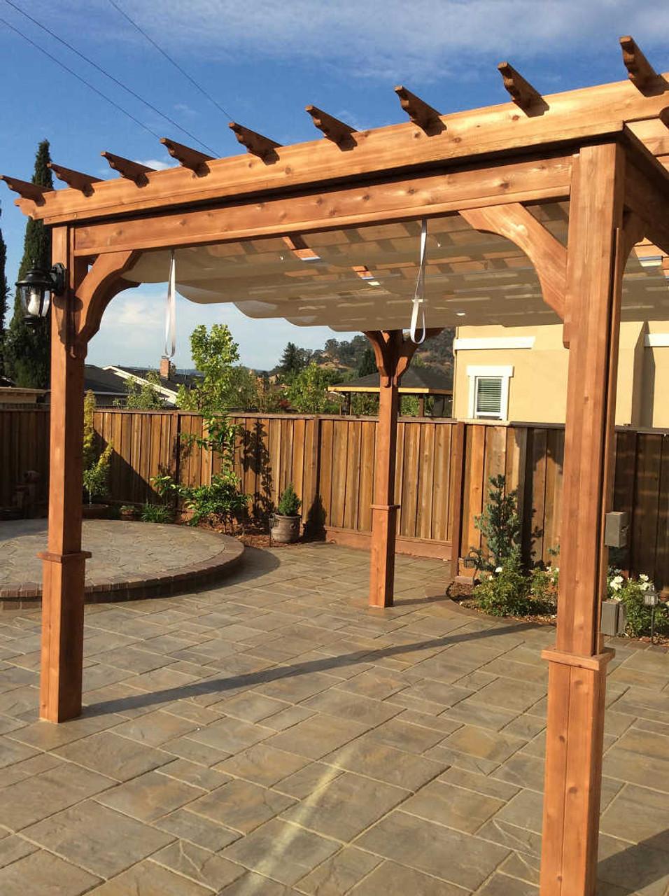 Infinity Canopy / Linen Color / Sunbrella™ Premium Fabric / Serenity Cedar Pergola Kit / Western Red Cedar #1 Grade / Morgan Hill, CA