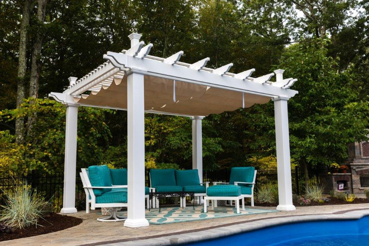 - Vinyl Double Beam Pergola Kit + Retractable Sunbrella™ Canopy