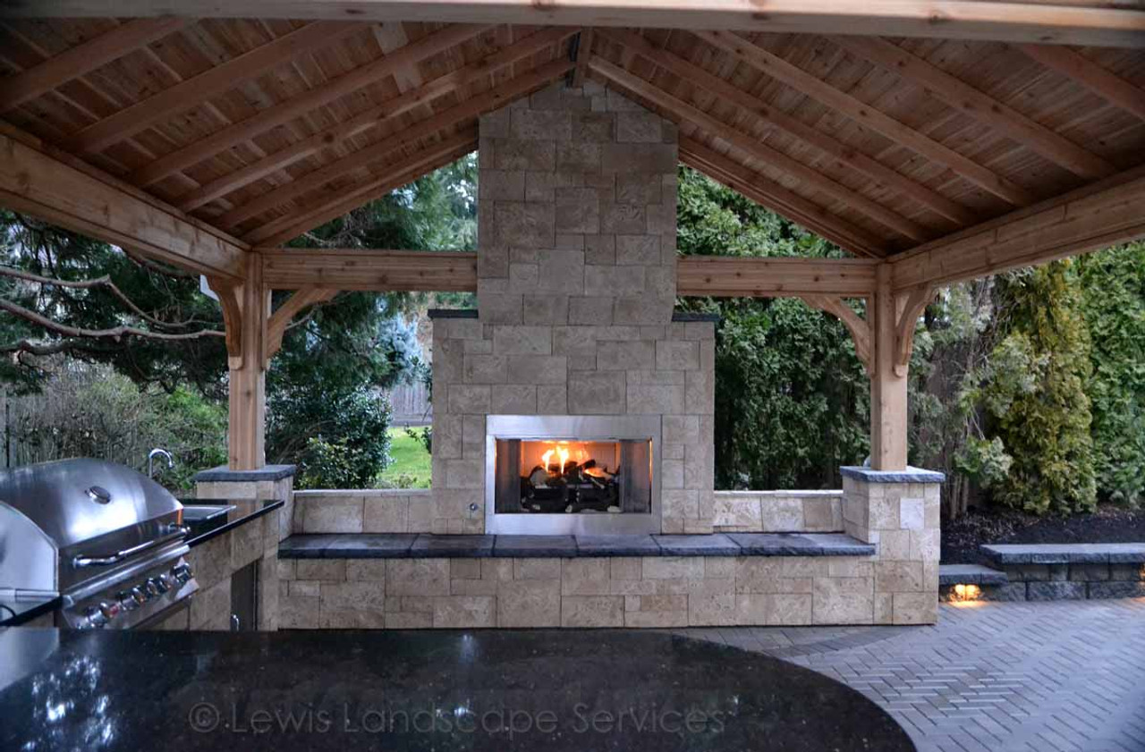 15x15 Red Cedar Patio Cover over stone fireplace and chimney / Tualatin, OR / Photos courtesy of our customer Brad Lewis Landscape. Thanks Brad!