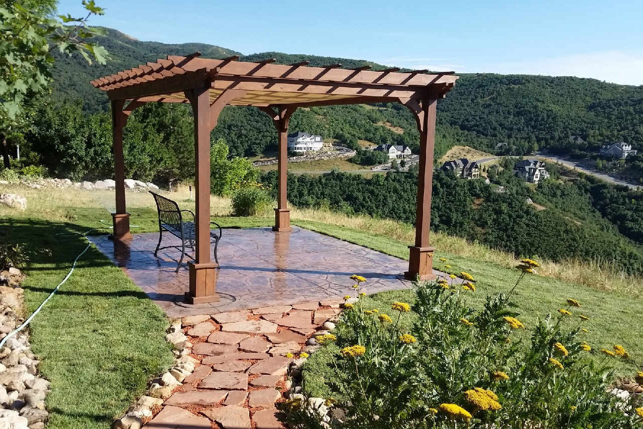 This pergola, which sits on a scenic hilltop overlook, is ideal for resting and talking, or prayer, meditation or contemplation. Bountiful, Utah.