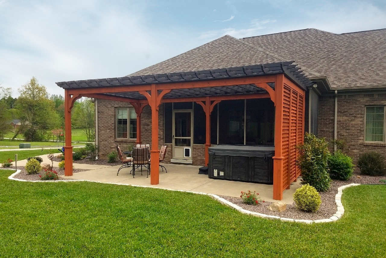 12x22 Serenity Cedar Pergola Kit with lattice privacy wall and 9ft posts / Evansville, IN.