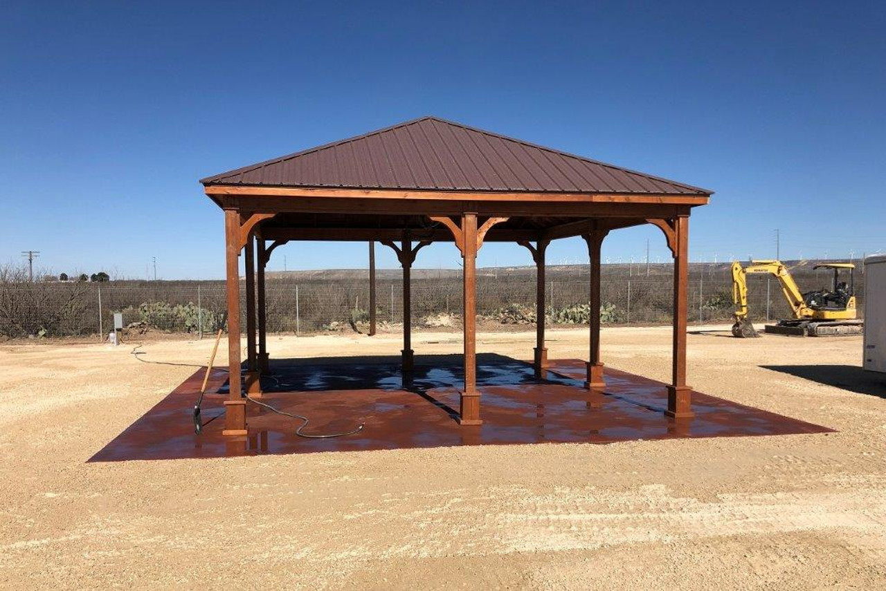 20x20 Red Cedar Pavilion, Traditional (hip) Roof, brown metal panel roofing, cedar stain color / McCamey, TX.