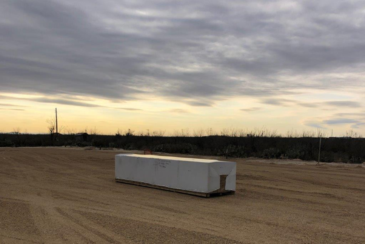 Crate arrives on site in McCamey, TX.