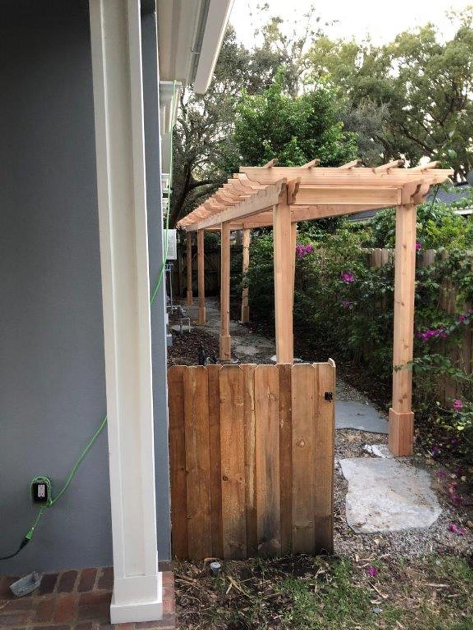 Alternate view 4x40 freestanding wood pergola
