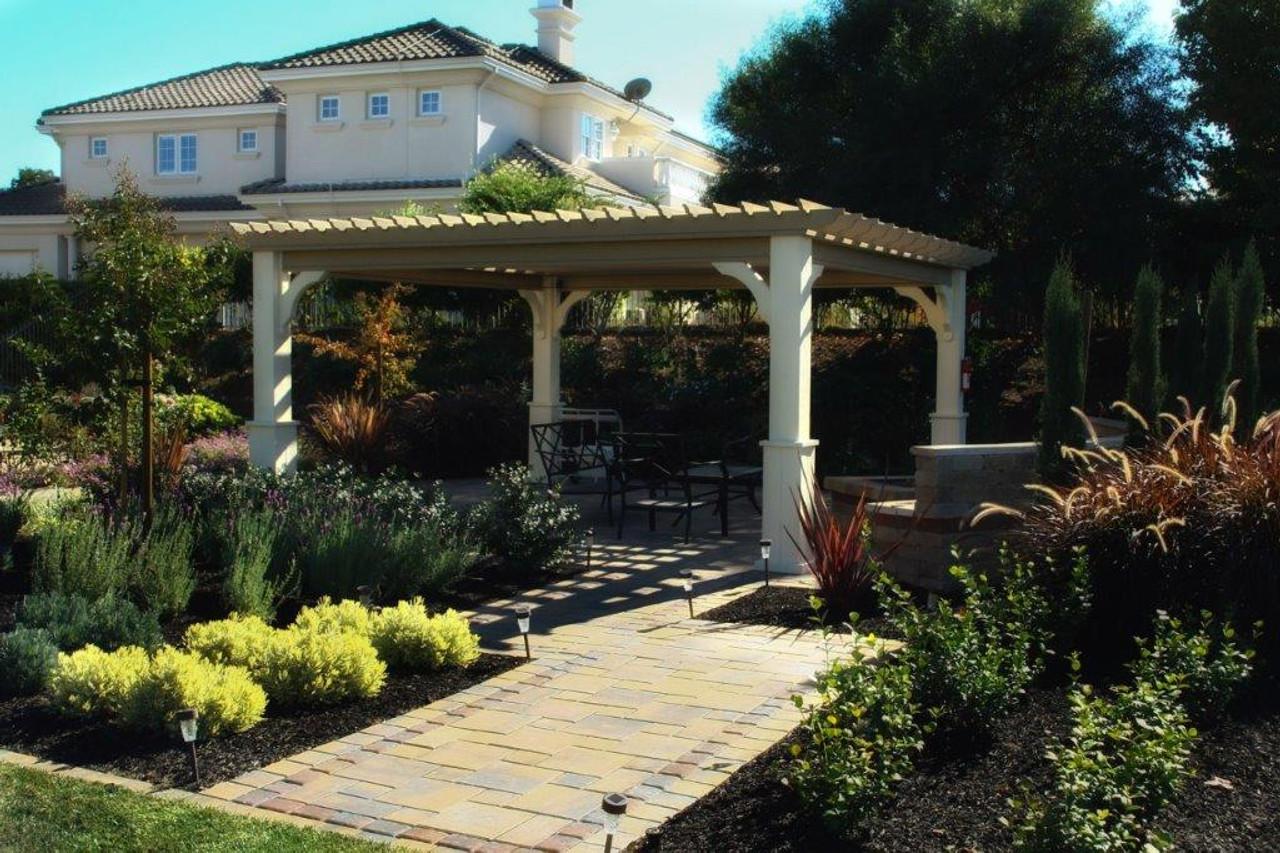 Pergola pic with furniture, Pleasanton California.