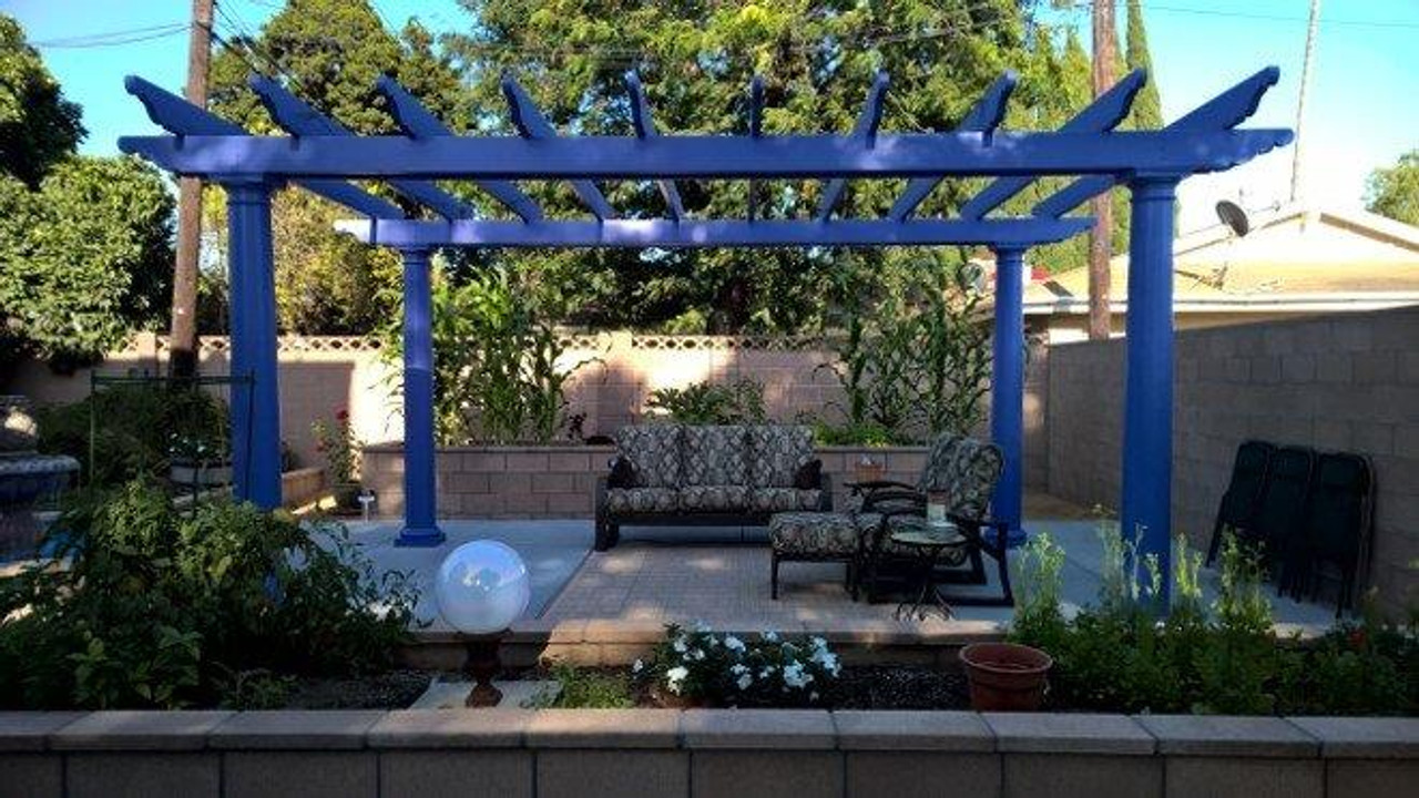 "20x13 fiberglass pergola kit, custom purple ""Gentian"" color, Sherwin Williams color code #6817, 10"" round tapered posts, no 2x2 top runners / Anaheim, CA."