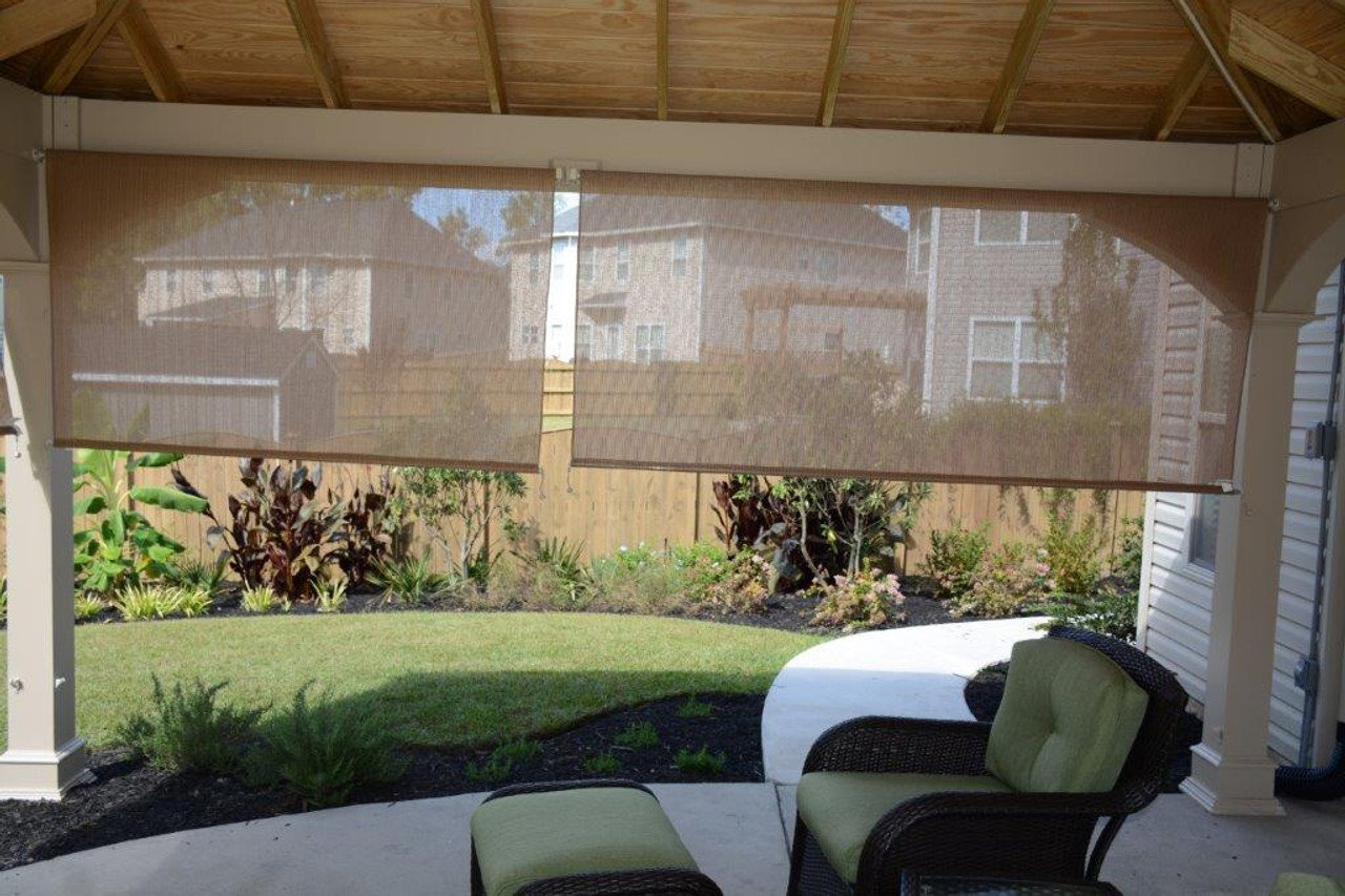 Sunshades on side of patio cover