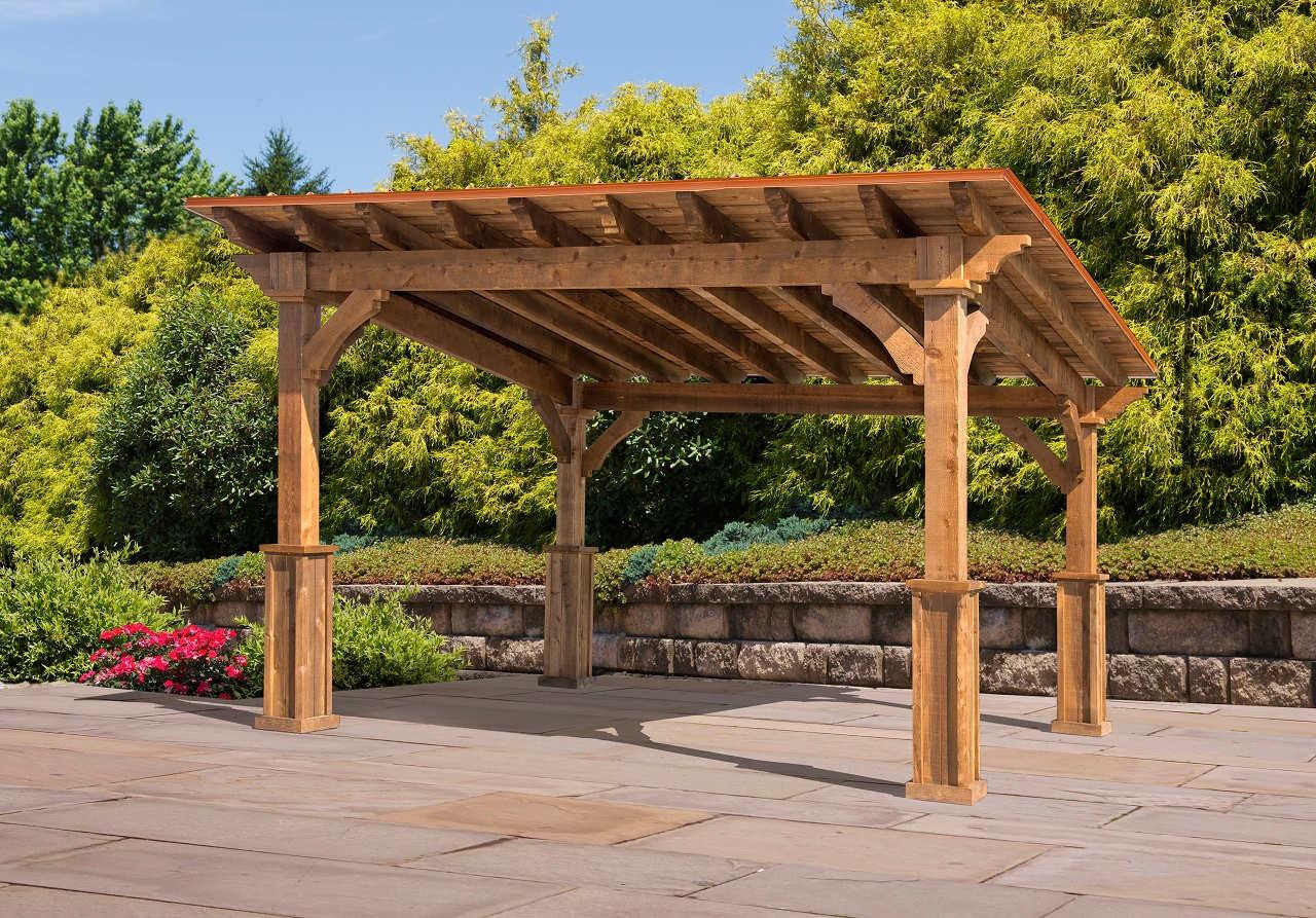 12x10 Lean-To style pavilion, rough sawn Western Red Cedar.