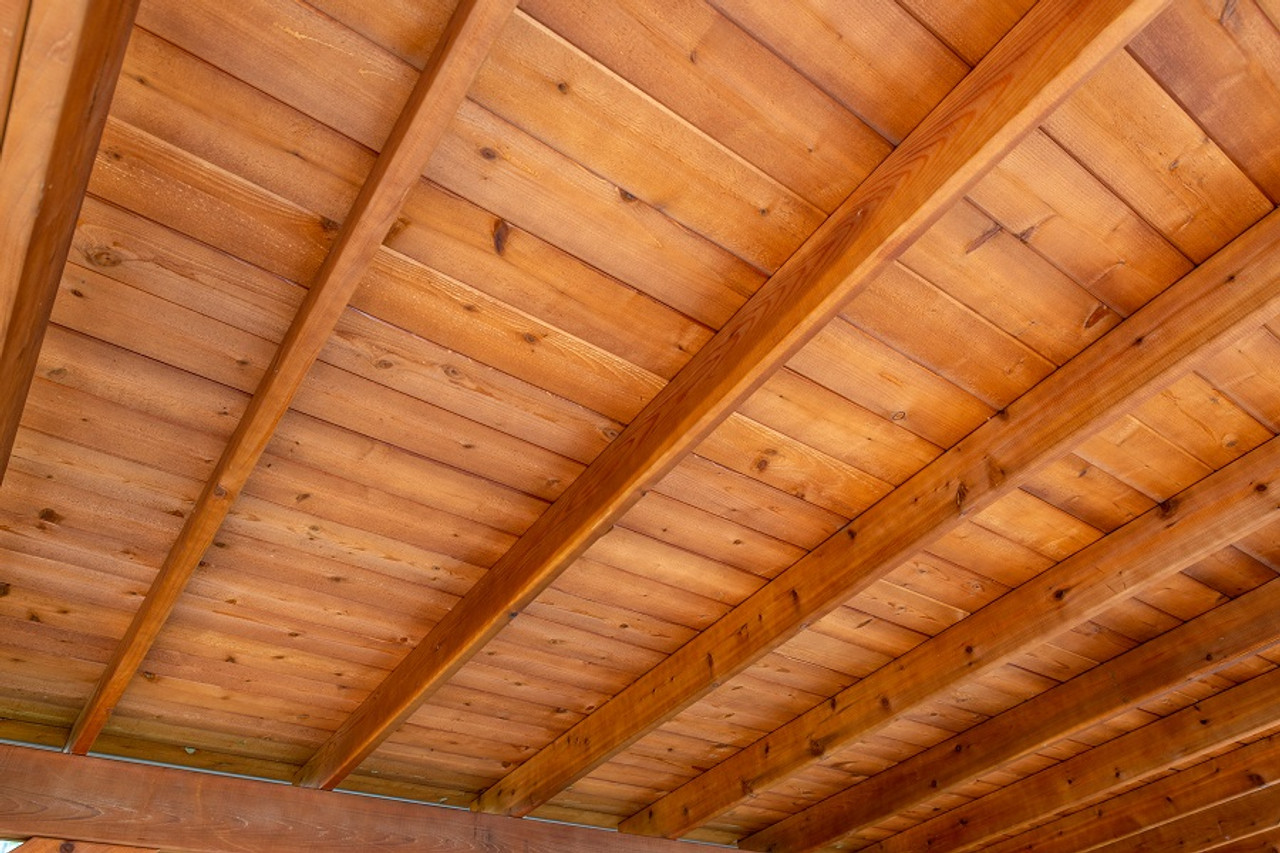 Western Red Cedar #1 grade tongue and groove roof decking. Standard on our smooth cedar Lean-To model.
