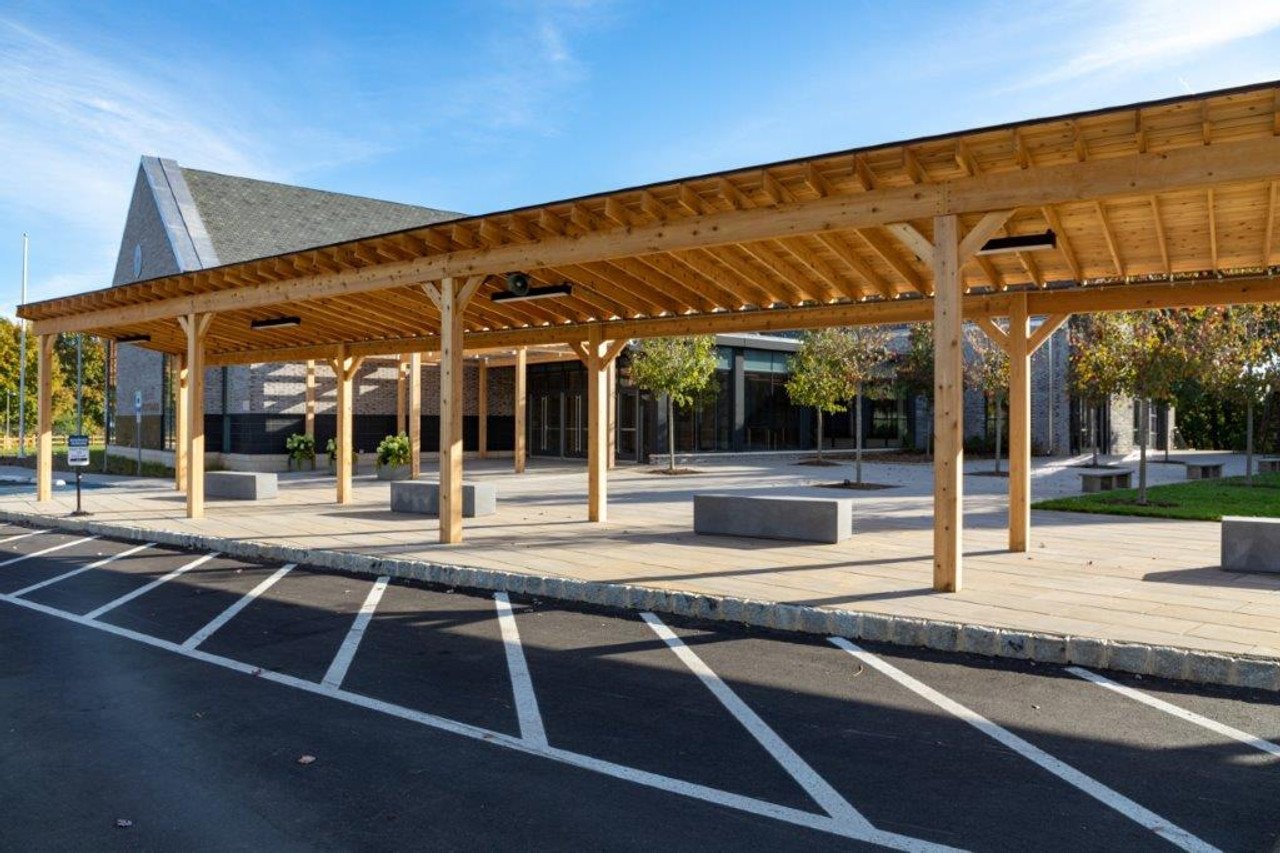 9x72 Lean-To, unstained, drop-off canopy for private school, Morristown NJ