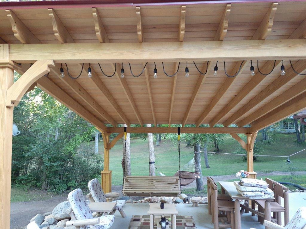 Tongue and groove roof decking on a 14x16 pressure treated Lean-To Pavilion, maple color staining, Crivitz Wisconsin