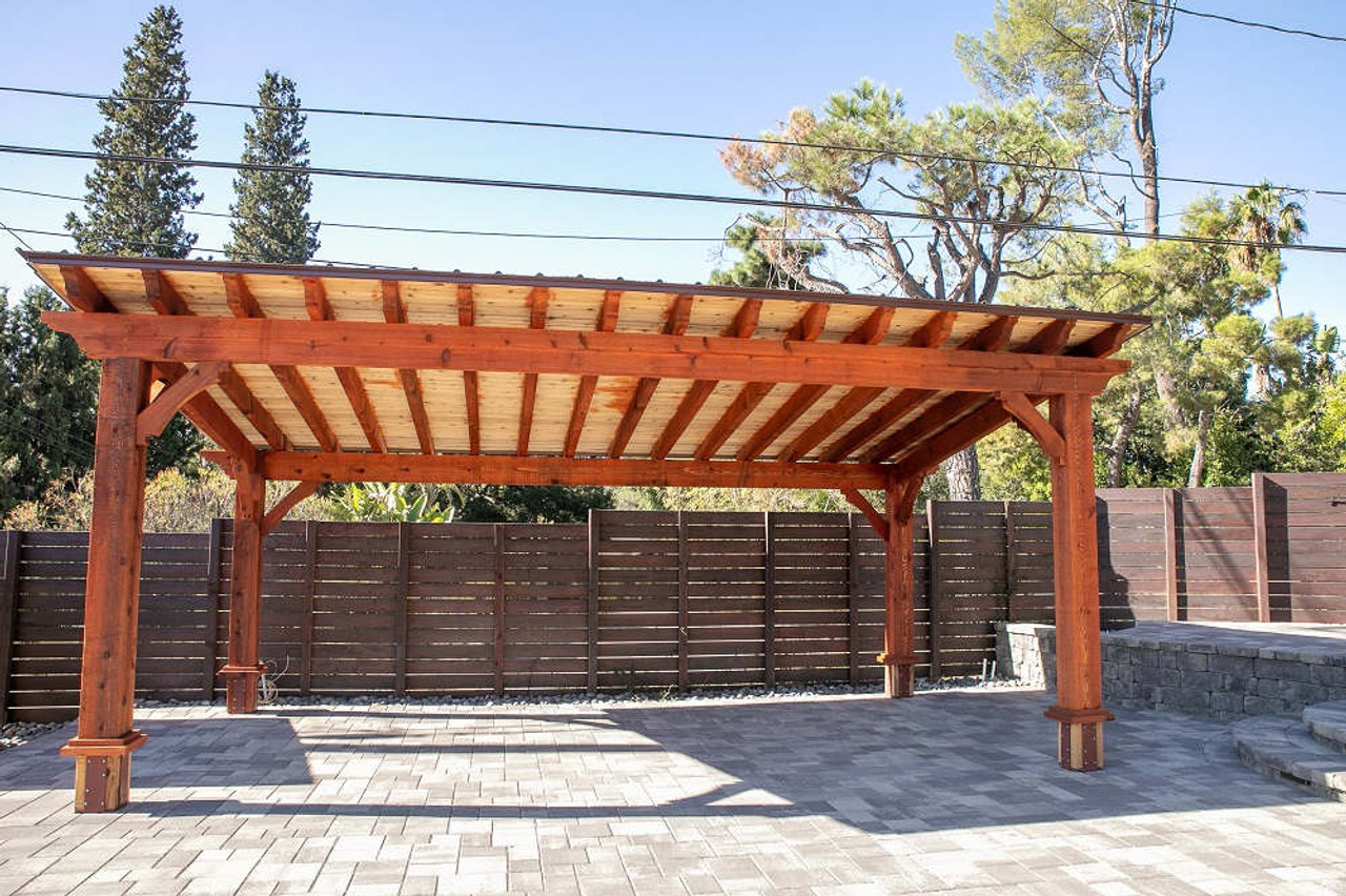 10x20 Lean-To slant roof pavilion, rough-sawn western red cedar. Altadena, CA.