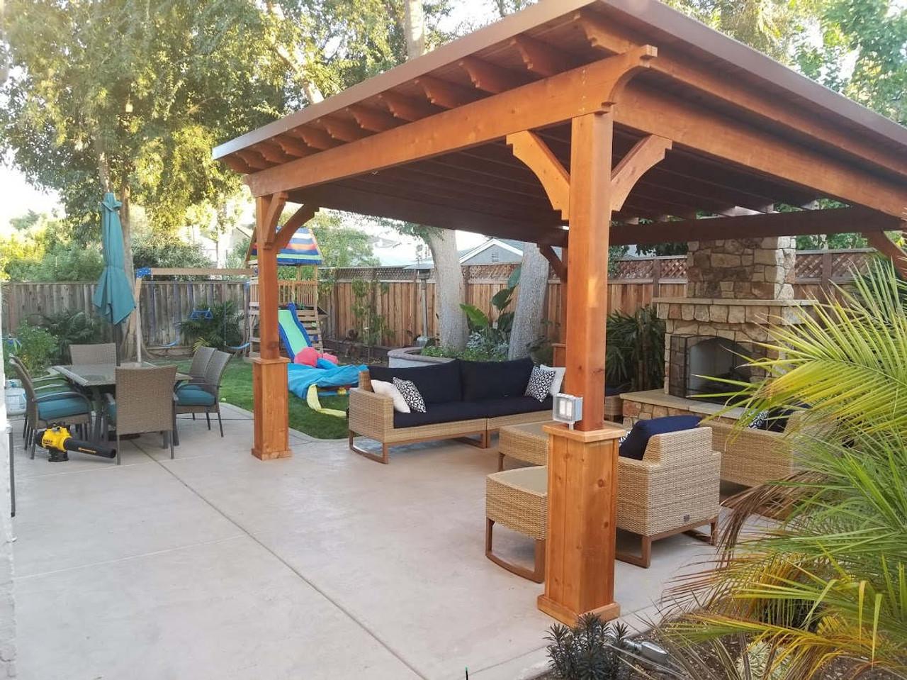 14x14 Lean To cedar pavilion. Cedar color stain. Brown metal panel roofing. No overhang on back side. San Jose, CA.