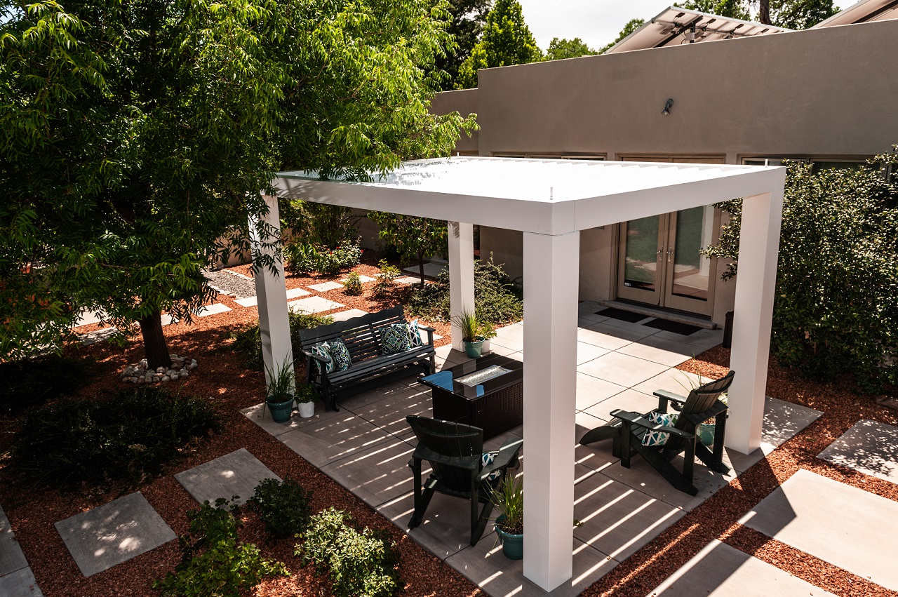 View from above louvered rafters