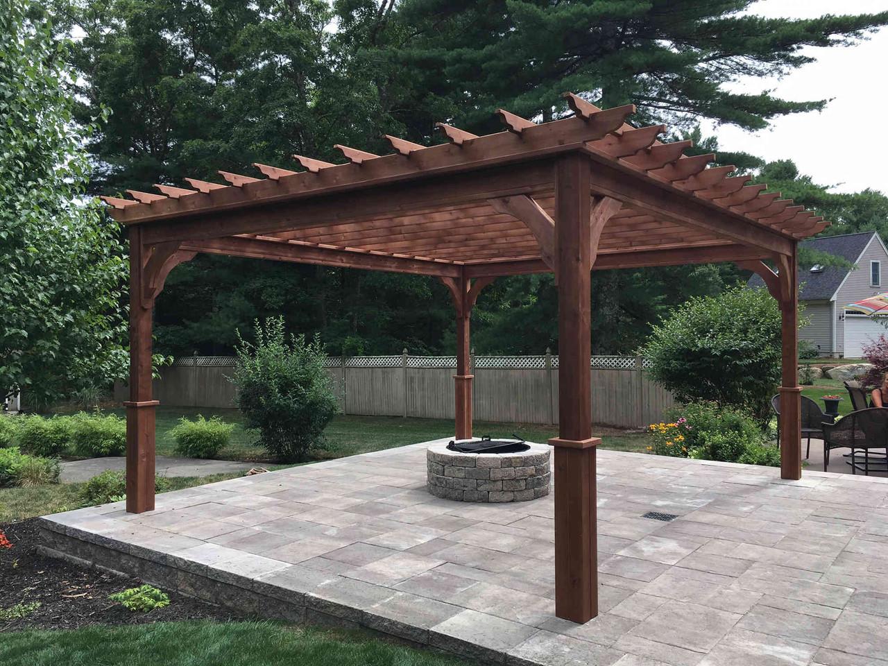 14x16 Serenity Cedar Pergola Kit, Mahogany Stain / Dartmouth, MA