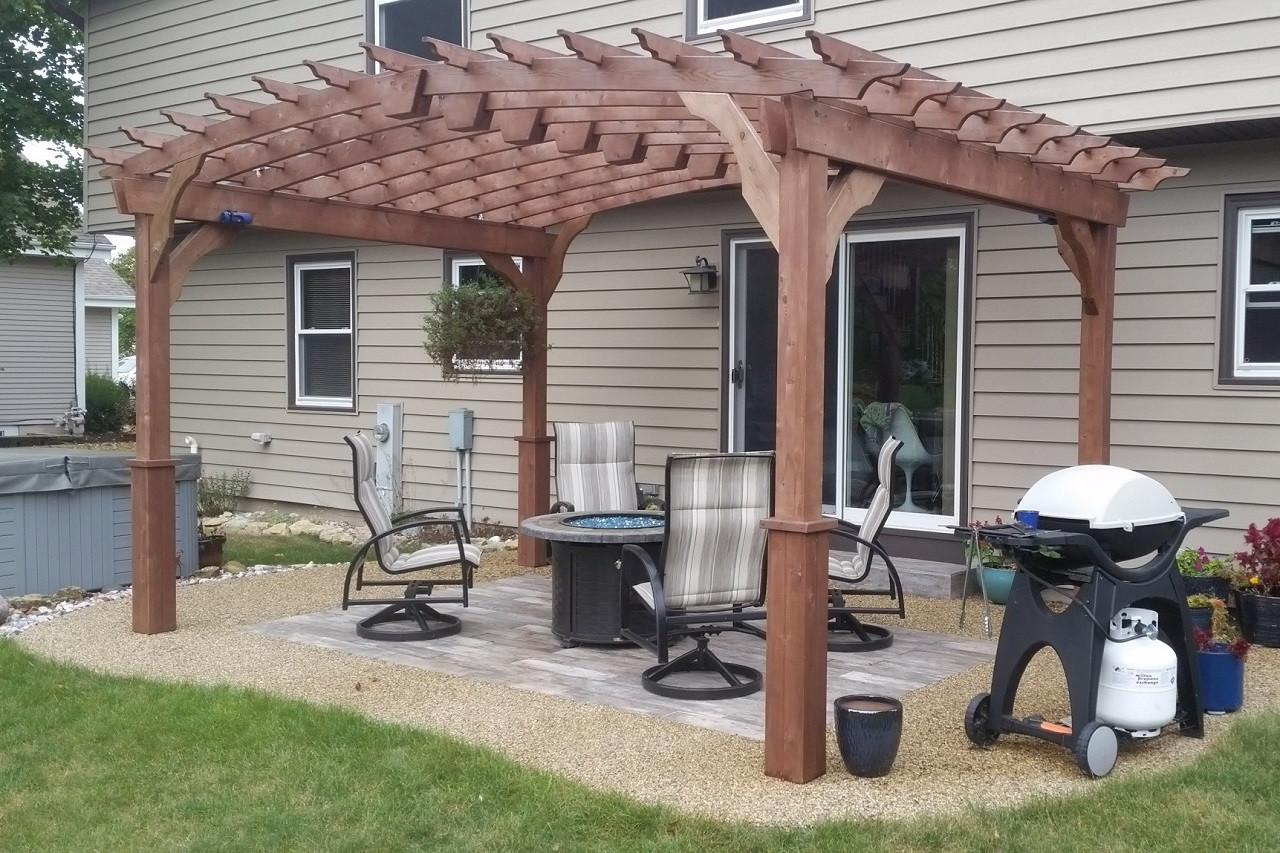 14x10 Arched Cedar Pergola Kit, Mahogany Stain / Muskego, WI