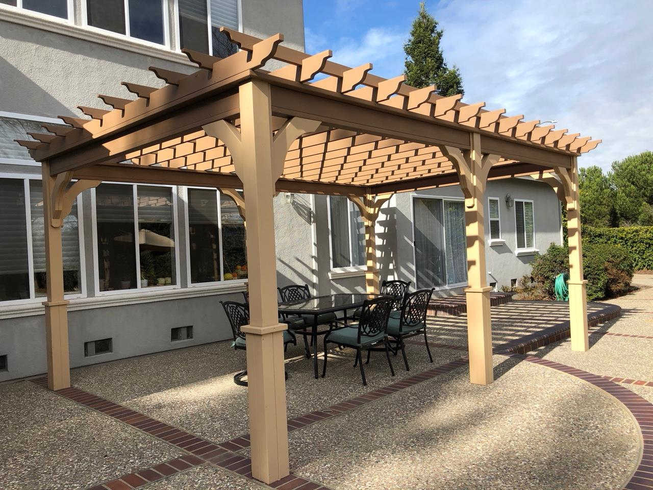 12x18 Serenity Cedar Pergola Kit makes a delightful setting for breakfast outside behind your home.