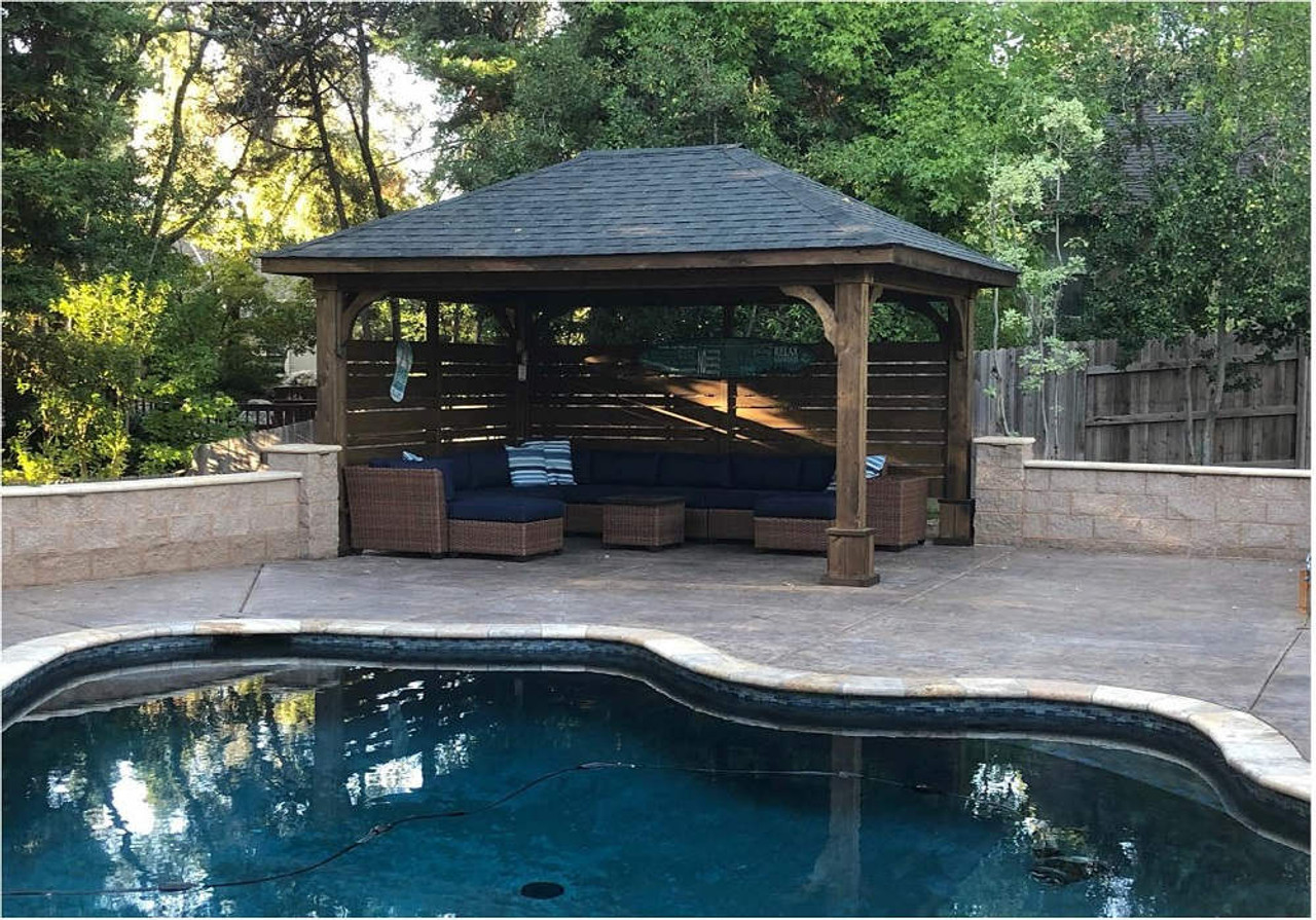 12x16 hip roof red cedar pavilion Granite Bay California