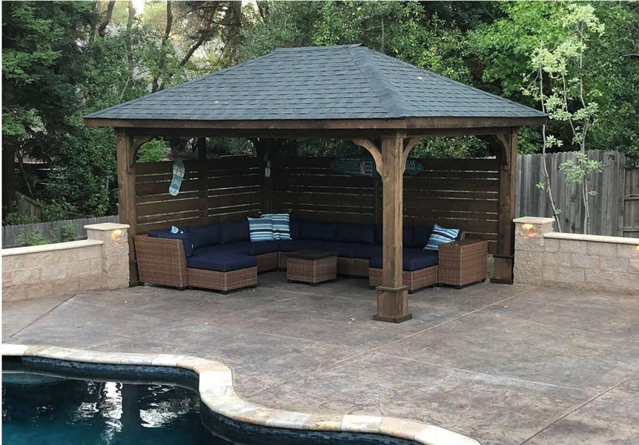 12x16 Pavilion Granite Bay CA poolside 8x8 posts