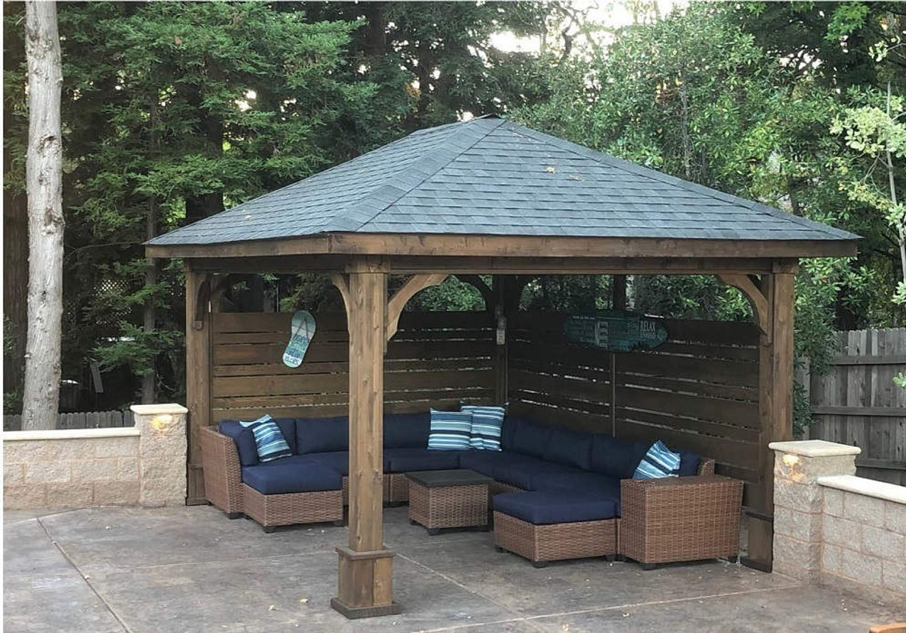 Pavilion with cedar privacy walls and sectional couch