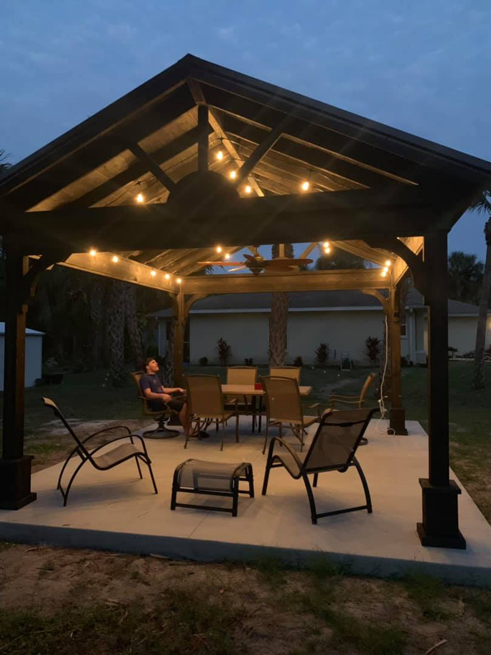 13x15 Cedar Gable Pavilion Kit Port Charlotte Florida night time idea