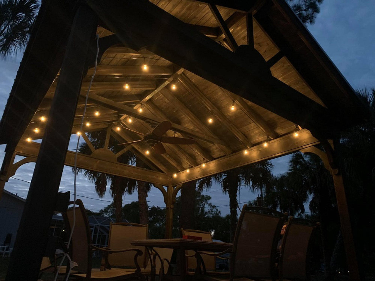 Cedar Gable Pavilion Kit 13x15 Port Charlotte FL night time idea